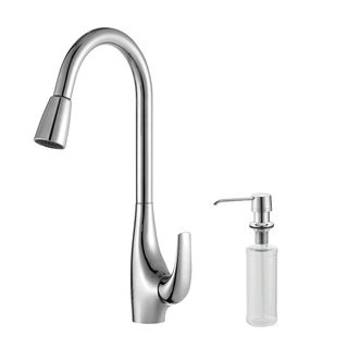 KRAUS Single-Handle High Arch Kitchen Faucet with Pull Down Dual-Function Sprayer and Soap Dispenser