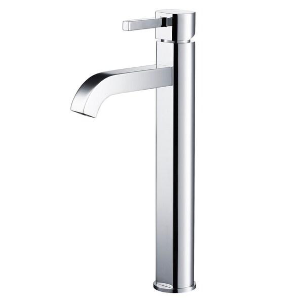 Kraus FVS-1007 Ramus Single Hole 1-Handle Bathroom Vessel Faucet with Matching Pop-Up Drain