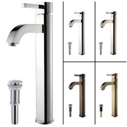 KRAUS Ramus Single Hole Single-Handle Vessel Bathroom Faucet with Matching Pop-Up Drain in Chrome