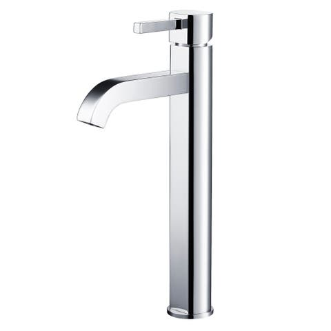 Kraus FVS-1007 Ramus Single Hole 1-Handle Bathroom Vessel Faucet with Matching Pop-Up Drain