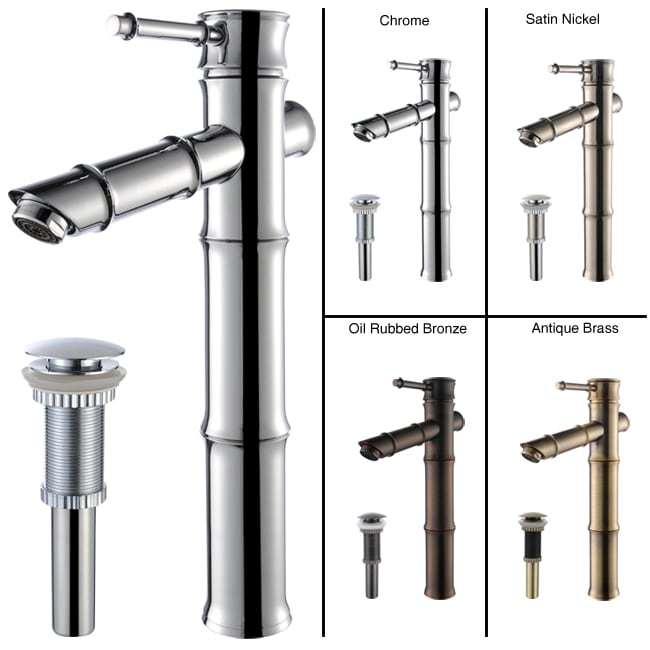 Kraus Bamboo Style Bathroom Vessel Filler Faucet with Pop-up Drain