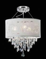 Crystal 3-light Silver Grey Shade Chandelier