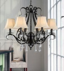 Black Iron 6-light Crystal Chandelier - Thumbnail 1