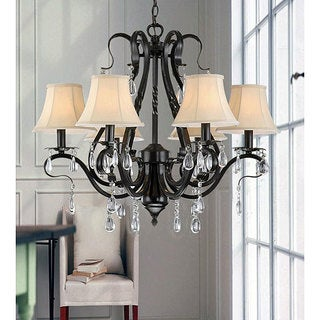 Black Iron 6-light Crystal Chandelier
