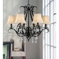 Copper Grove Rowardennan Black Iron 6-light Crystal Chandelier