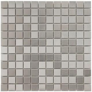 SomerTile 11.875x11.875-inch Chromium Square Stainless Steel over Porcelain Mosaic Wall Tile (10 tiles/10 sqft.)