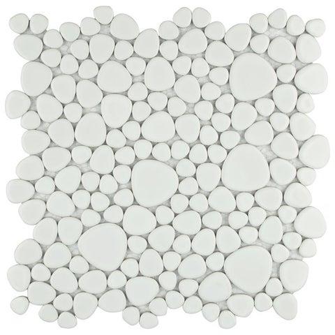 SomerTile 11x11-inch Quarry White Gloss Porcelain Mosaic Tile (Pack of 10)