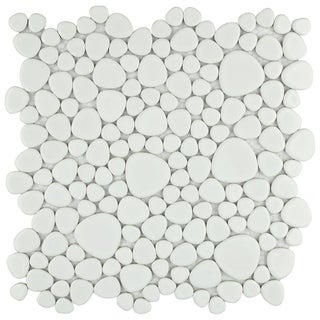 SomerTile 11x11-in Quarry White Gloss Porcelain Mosaic Tile (Pack of 10)