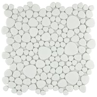 SomerTile 11x11-inch Quarry White Gloss Porcelain Mosaic Tile (Pack of 10)