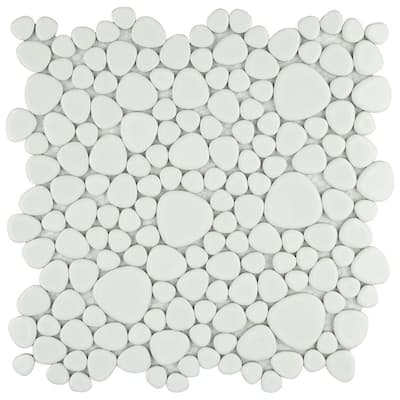 SomerTile 11x11-inch Quarry White Porcelain Mosaic Floor and Wall Tile