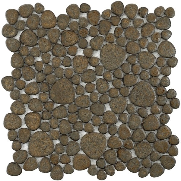 SomerTile 11x11-in Quarry Brownstone Porcelain Mosaic Tile (Pack of 10)