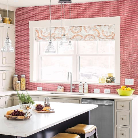 SomerTile 12x12.625-inch Penny Vermilio Porcelain Mosaic Floor and Wall Tile (10 tiles/10.74 sqft.)