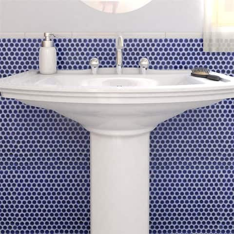 SomerTile 12x12.625-inch Penny Cobalt Blue Porcelain Mosaic Floor and Wall Tile (10 tiles/10.74 sqft.)