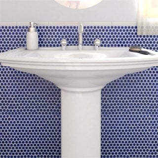 SomerTile 12x12.625 Inch Penny Cobalt Blue Porcelain Mosaic Floor And Wall  Tile (