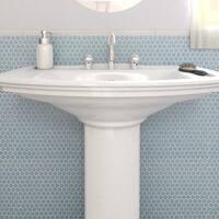 SomerTile 12x12.625-inch Penny Light Blue Porcelain Mosaic Floor and Wall Tile (10 tiles/10.74 sqft.)