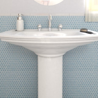 SomerTile 12x12.625 Inch Penny Light Blue Porcelain Mosaic Floor And Wall  Tile (