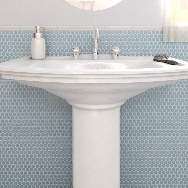 Somertile penny 3 4 in lite blue porcelain for 12 x 12 blue ceramic floor tile