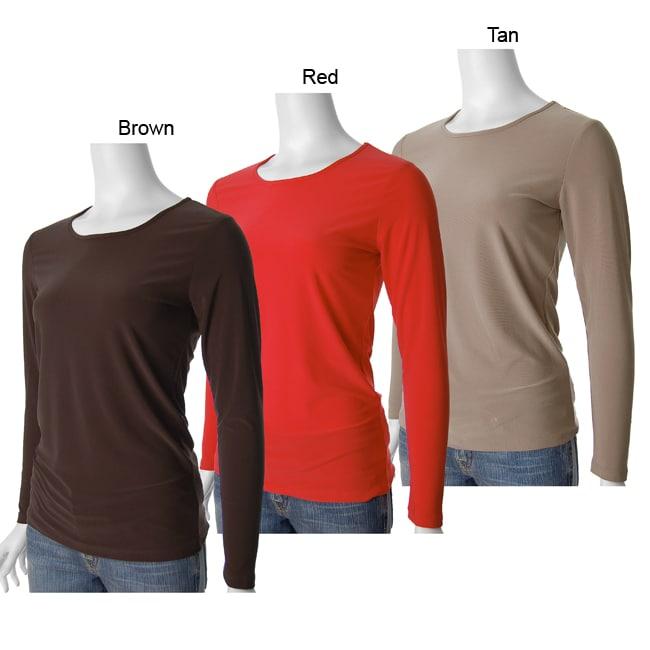 Adi Designs Women's Jewel Neck Long-sleeve Stretch T-shirt