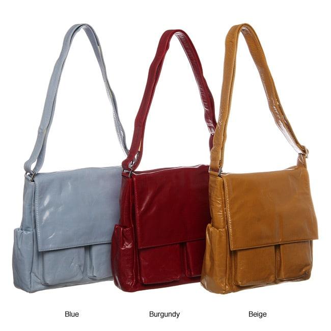 Cosmo Italian Leather Handbag with Exterior Pockets