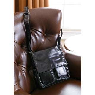 Cosmo Italian Leather Handbag with Exterior Pockets