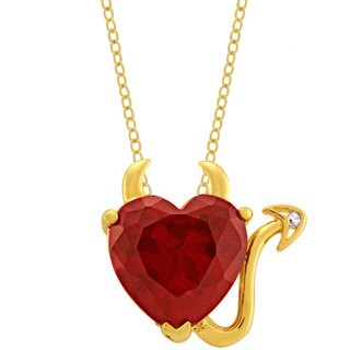Simon Frank Yellow Gold Overlay Red CZ Devil Heart Necklace