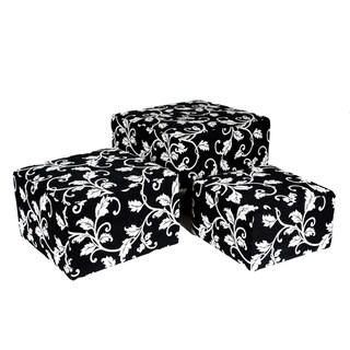 Portfolio Square Charcoal Black and White Vine Nesting Ottomans (Set of 3)