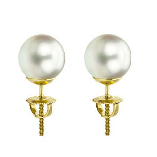 DaVonna 14k Gold White South Sea Cultured Pearl Stud Earrings (9.5-10 mm)