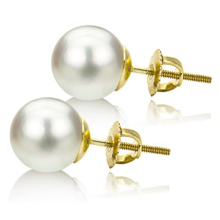 DaVonna 14k Gold White South Sea Cultured Pearl Stud Earrings (10-11 mm)