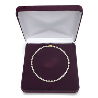 DaVonna 14k Gold White Akoya Pearl High Luster 18-inch Necklace (8-8.5 mm)