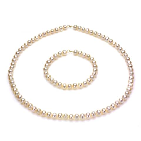 14k Gold Freshwater Cultured Pearl Necklace/ Bracelet Set (5-6 mm/ 18 in/ 7 in) - White