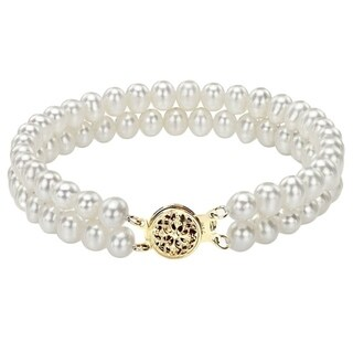 DaVonna 14k Yellow Gold Double-strand 5-6mm White Freshwater Pearl Bracelet