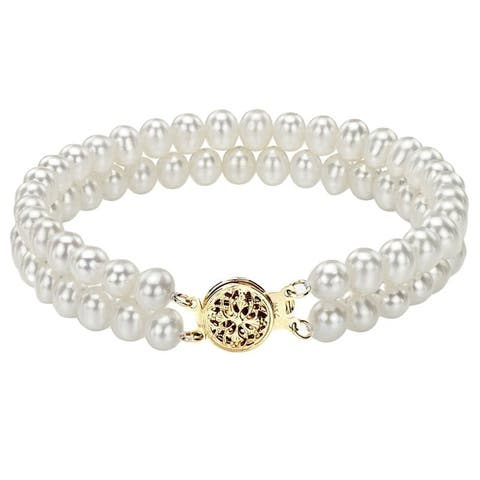 DaVonna 14k Yellow Gold Double-strand 5-6mm White Freshwater Pearl Bracelet