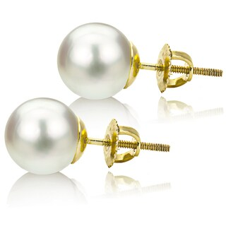 DaVonna 14k Gold White 11-12mm South Sea Pearl Stud Earrings with Gift Box