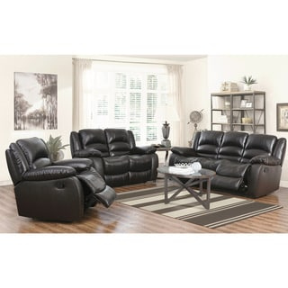 Abbyson Brownstone Top Grain Leather Reclining 3 Piece Living Room Set Part 95