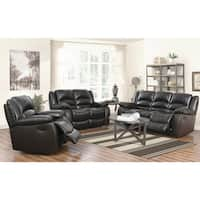 Abbyson Brownstone Top Grain Leather Reclining 3 Piece Living Room Set