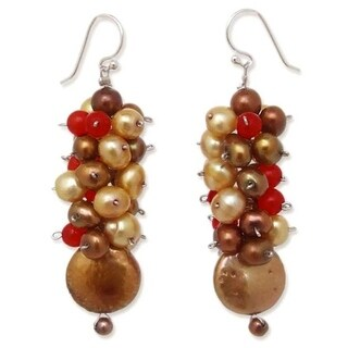 Handmade Pearl and Carnelian 'Golden' Cluster Earrings (Thailand)