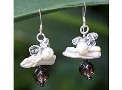 Sterling Silver 'Elusive Moon' Pearl Cluster Earrings (Thailand)