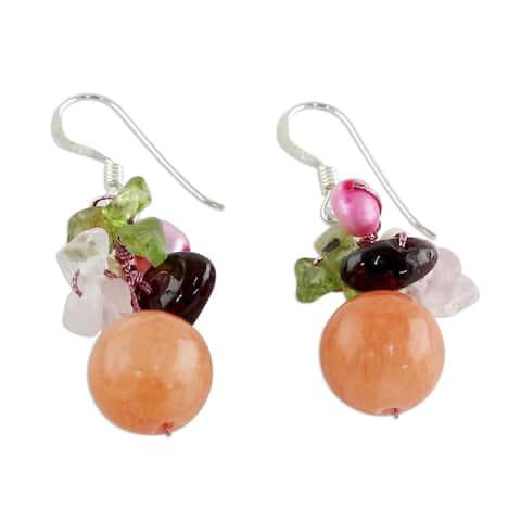 Handmade Pearl and Rose Quartz Strawberry Fantasy Earrings (Thailand)