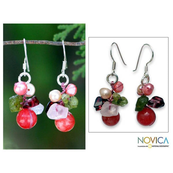 Handmade Pearl and Rose Quartz 'Strawberry Fantasy' Earrings (Thailand)