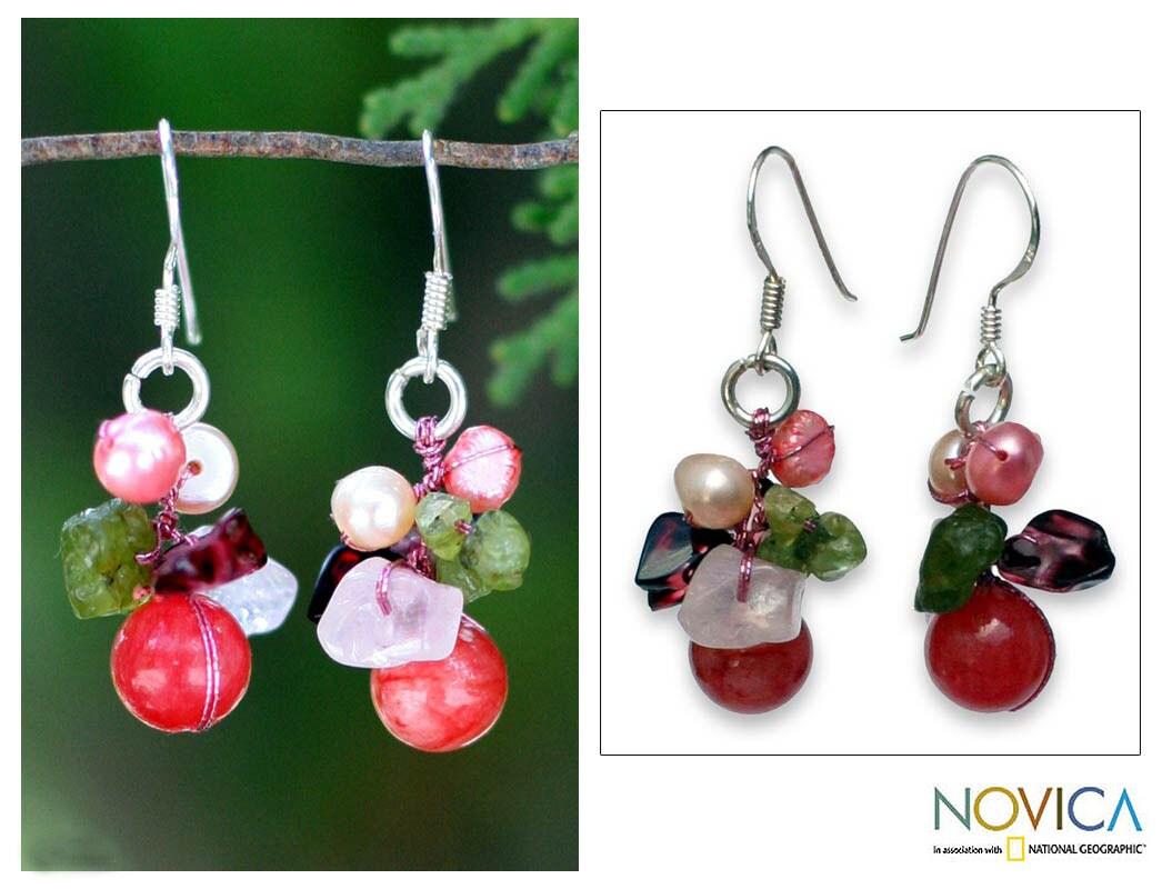 Handmade Pearl and Rose Quartz 'Strawberry Fantasy' Earrings (Thailand)