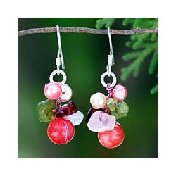 Pearl and Rose Quartz 'Strawberry Fantasy' Earrings (Thailand)