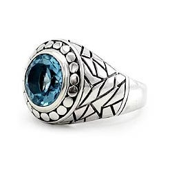Blue Ocean Men's Artisan Designer Handmade Fashion Clothing Accessory Sterling Silver Topaz Gemstone Signet Ring (Indonesia)