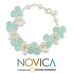 Island Paradise Fluid Vintage Look Aqua Chalcedony Gemstones White Freshwater Pearls 925 Sterling Silver Womens Bracelet (India)