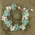 Island Paradise Fluid Vintage Look Aqua Chalcedony Gemstones White Freshwater Pearls 925 Sterling Silver Womens Bracelet (India)