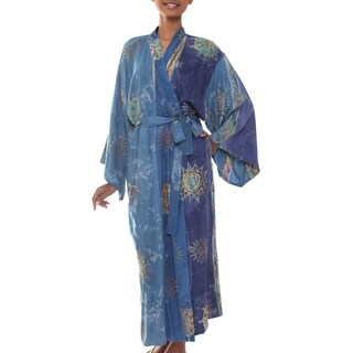 Blue Welcome Handmade Artisan Designer Women's Clothing Fashion Blue Gray Gold Purple Stars Suns Batik Bath Robe (Indonesia)