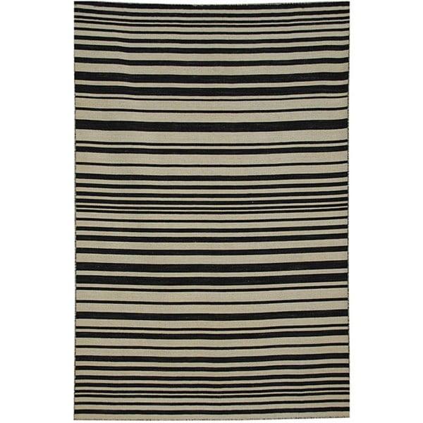 Hand-woven Arrah-109 Dhurry New Zealand Wool Rug (4' x 6')