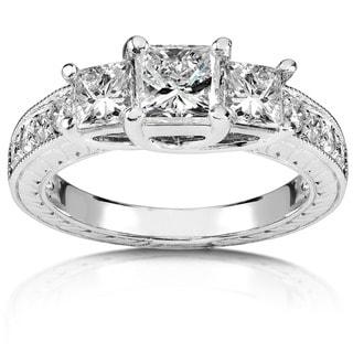 Annello by Kobelli 14k Gold 1 1/3ct TDW Princess 3-stone Diamond Ring