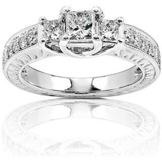 Annello 14k Gold 4/5ct TDW Princess-cut 3-stone Diamond Ring (H-I, I1-I2)