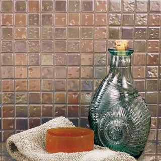 SomerTile 12x12-in Samoan 1-in Antique Copper Porcelain Mosaic Tile (Pack of 10)