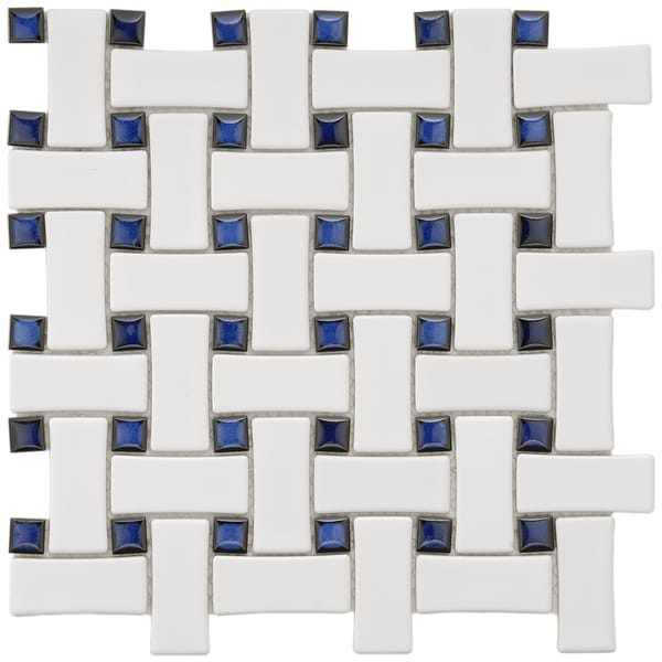 SomerTile 9.75x9.75-in Basket Weave 1x2.5-in White/Cobalt Porcelain Mosaic Tile (Pack of 10)